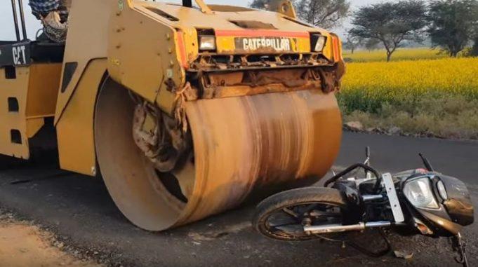 bike crushed under road roller motorcyclediaries