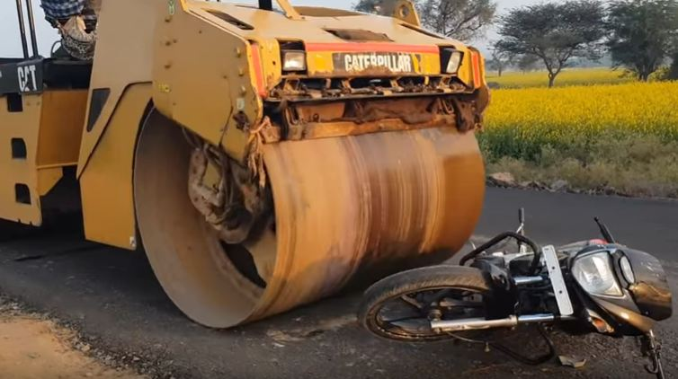 bike crushed under road roller motorcyclediaries