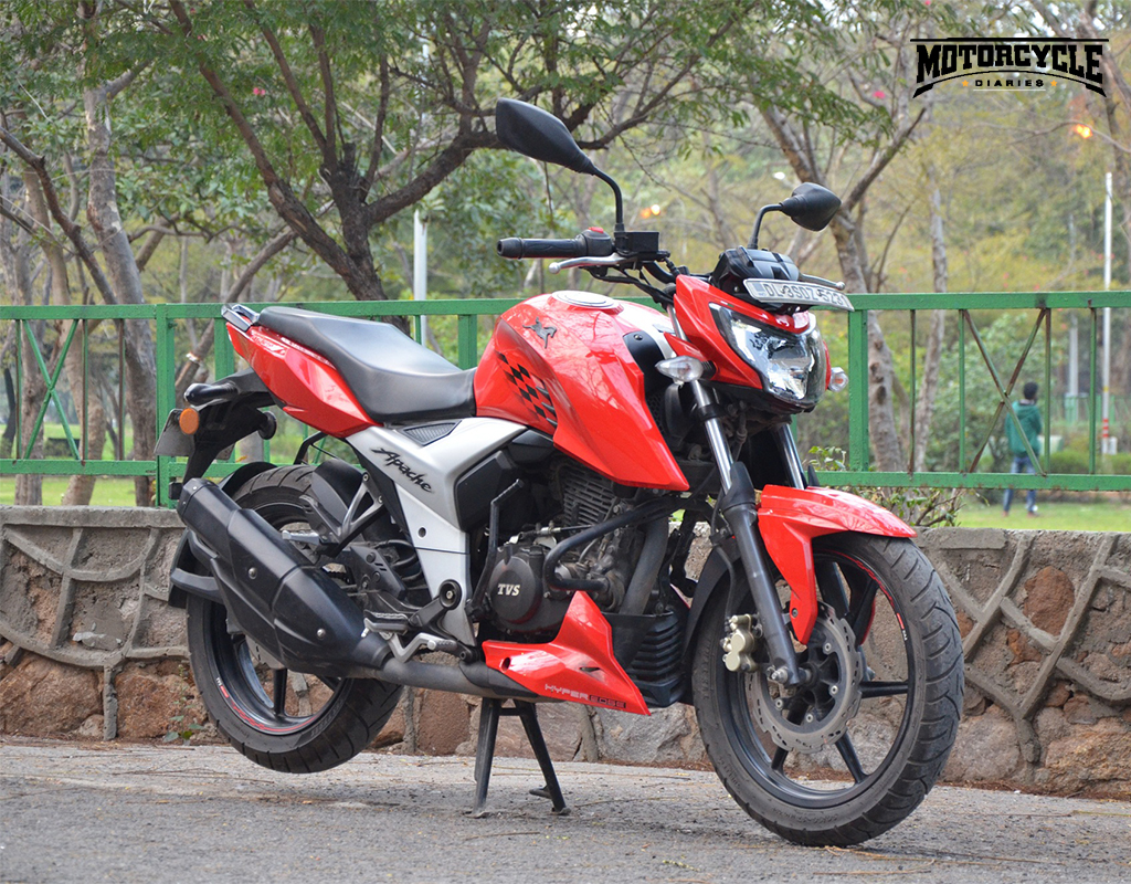 tvs apache rtr 160 4v front motorcyclediaries
